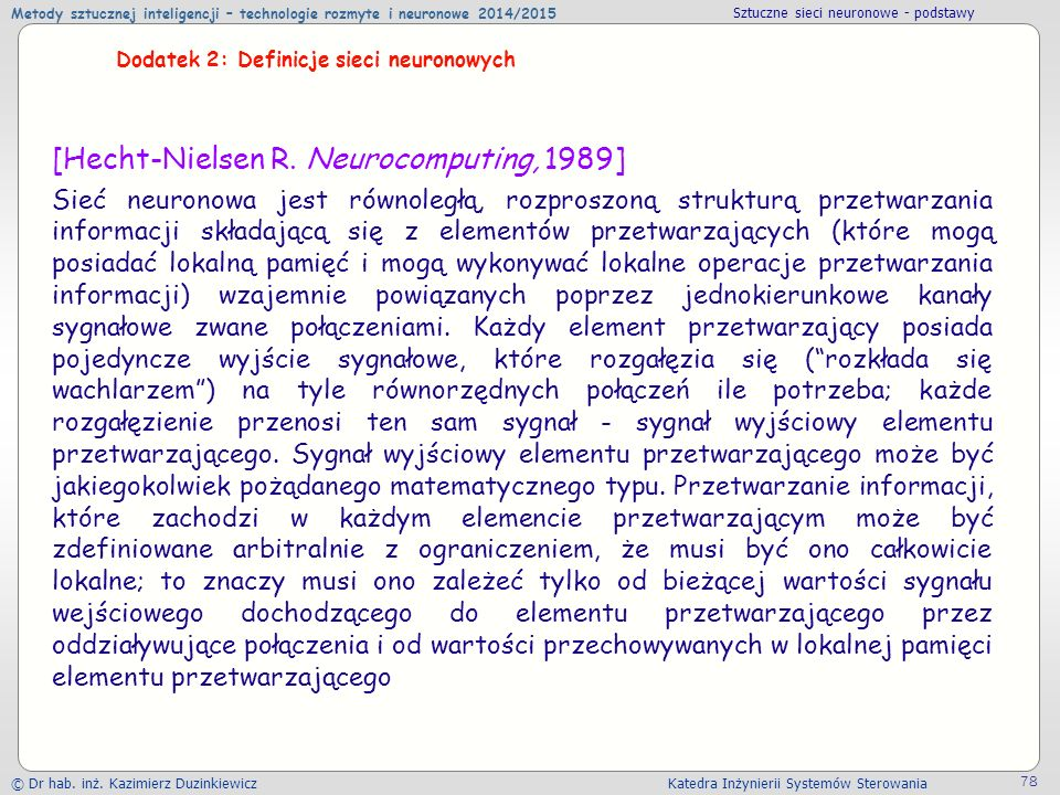 [Hecht-Nielsen R. Neurocomputing, 1989]